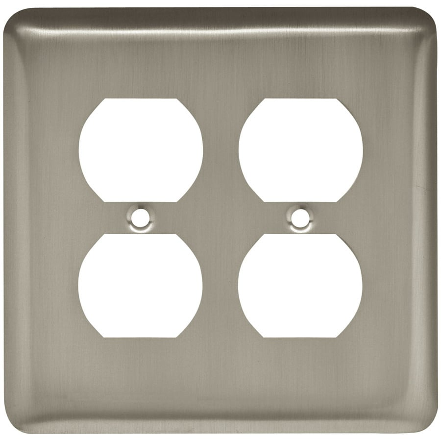 Style Selections Stamped Round 2-Gang Satin Nickel Double Round Wall Plate