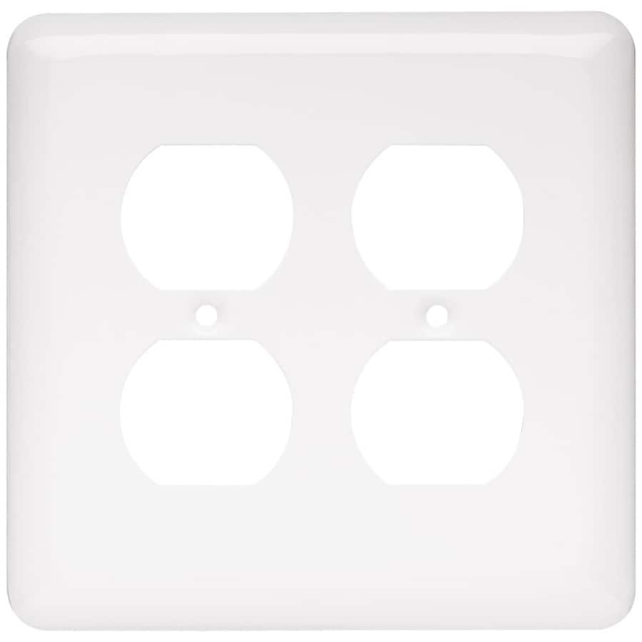 Style Selections Stamped Round 2-Gang White Double Round Wall Plate