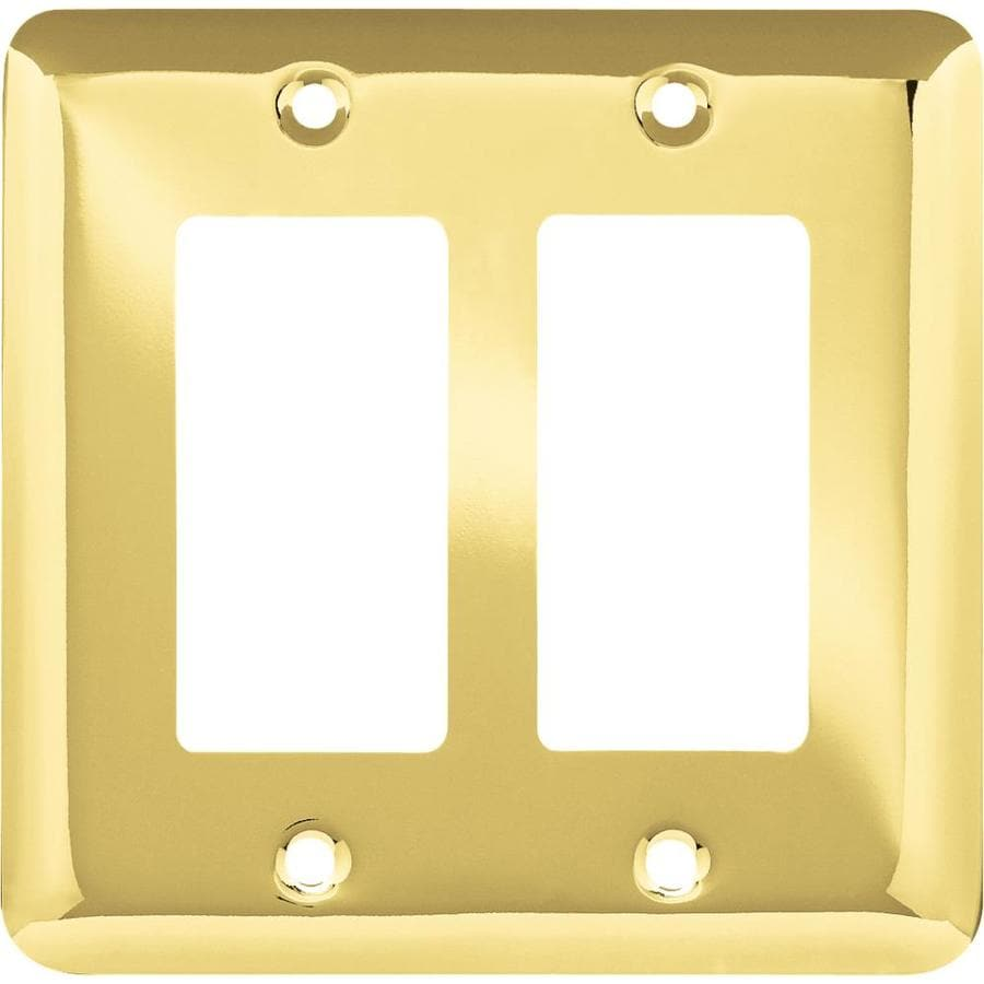 Style Selections Stamped Round 2-Gang Polished Brass Double Decorator Wall Plate