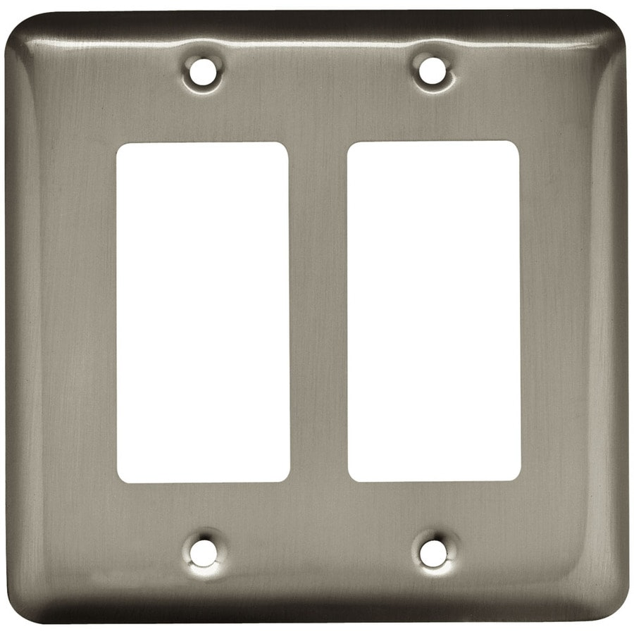 Style Selections Stamped Round 2 Gang Satin Nickel Double Wall Plate