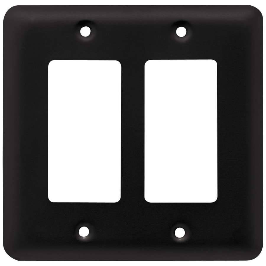Style Selections Stamped Round 2-Gang Flat Black Double Decorator Wall Plate