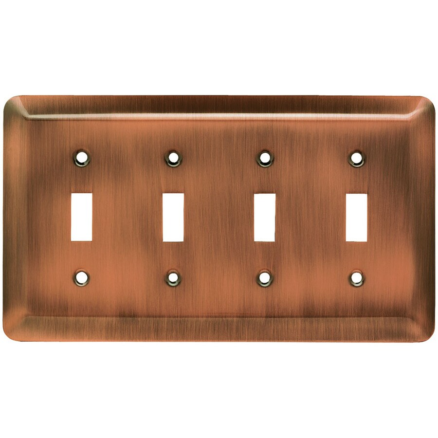 Brainerd Stamped Round 4-Gang Brushed Copper Quad Toggle Wall Plate