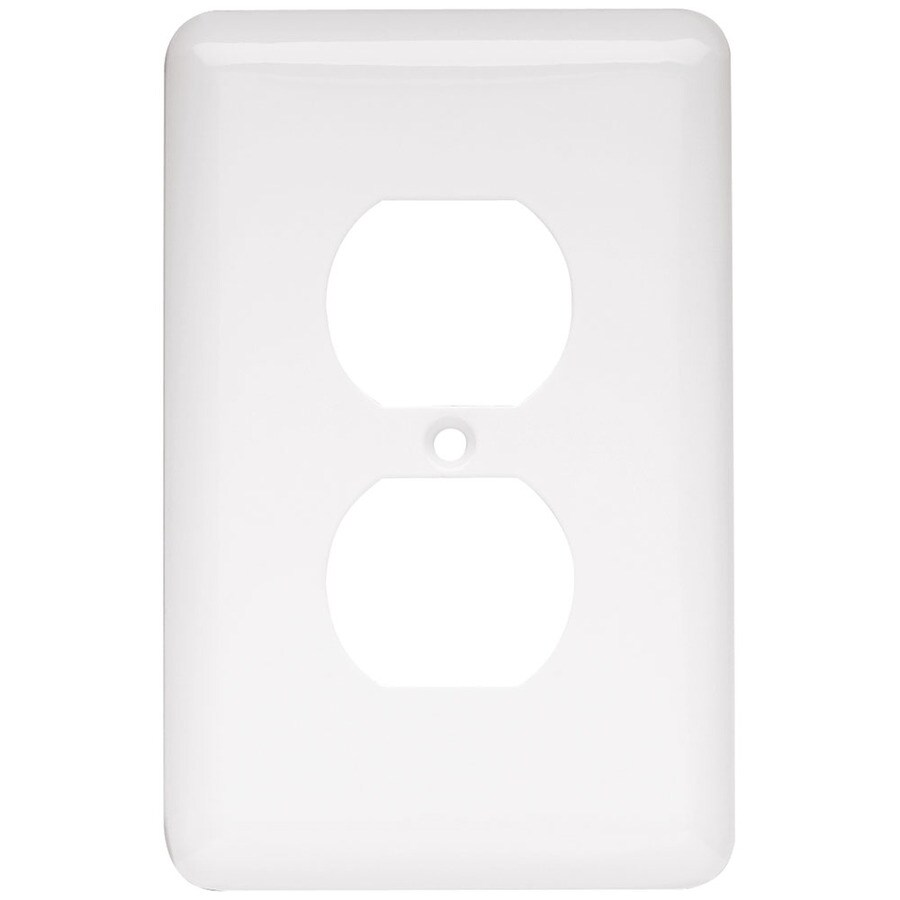 Style Selections 1-Gang White Standard Toggle Steel Wall Plate