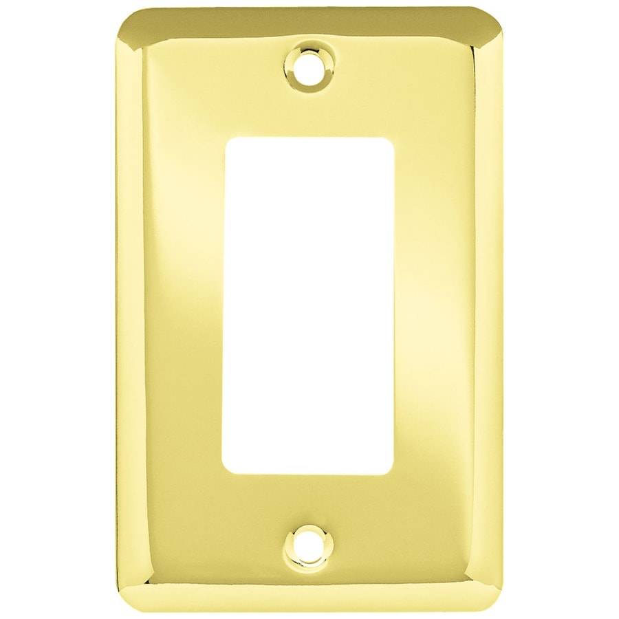 Style Selections 1-Gang Polished Brass Decorator Rocker Steel Wall Plate