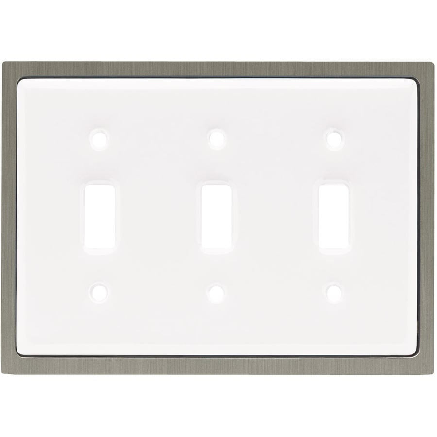 betsyfieldsdesign 3-Gang White Standard Toggle Ceramic Wall Plate