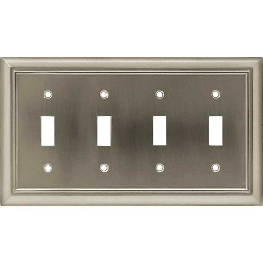 Brainerd Architectural 4-Gang Satin Nickel Quad Toggle Wall Plate