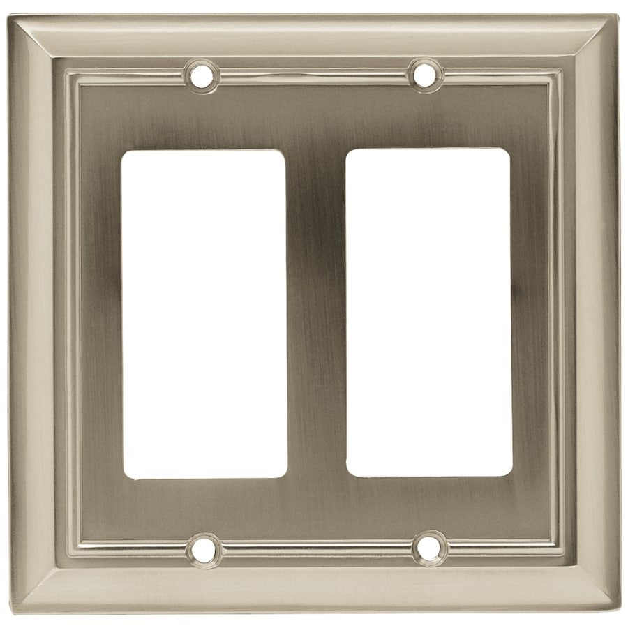 Brainerd Architectural 2-Gang Satin Nickel Double Decorator Wall Plate