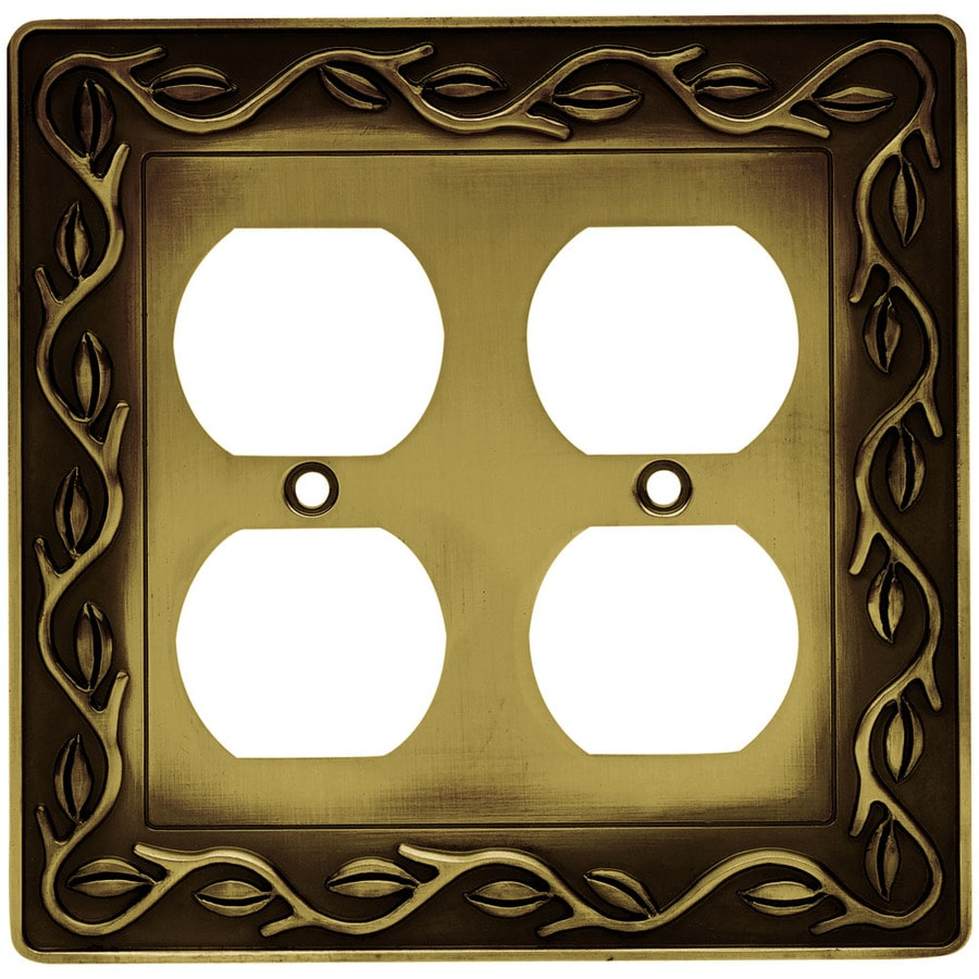 Brainerd 2-Gang Tumbled Antique Brass Round Wall Plate