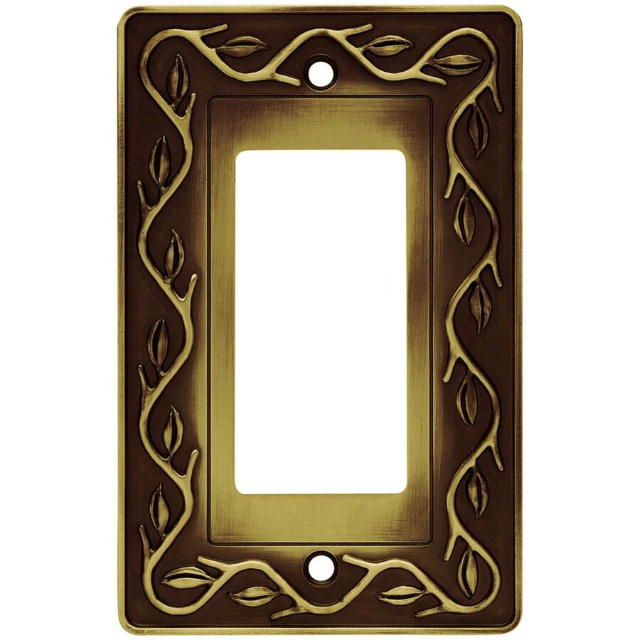 Brainerd 1-Gang Tumbled Antique Brass Decorator Wall Plate