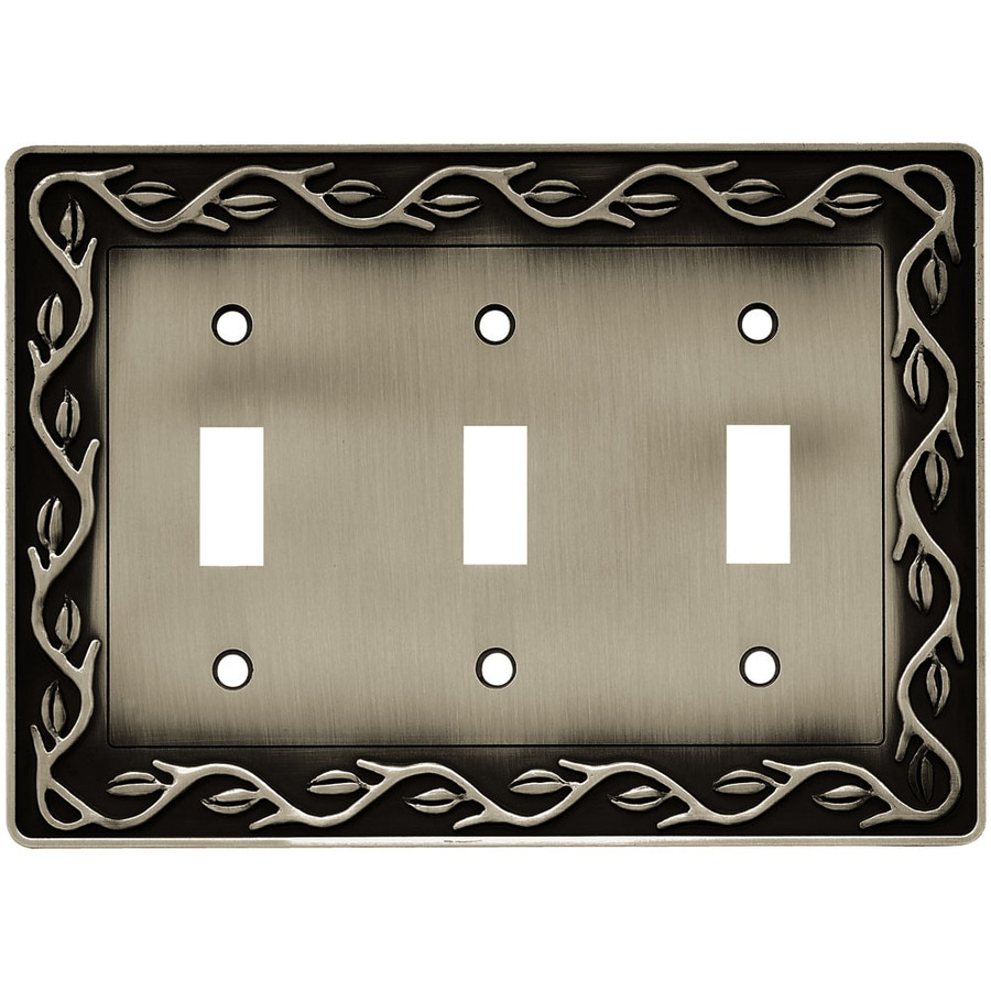 Brainerd 3-Gang Brushed Satin Pewter Toggle Wall Plate