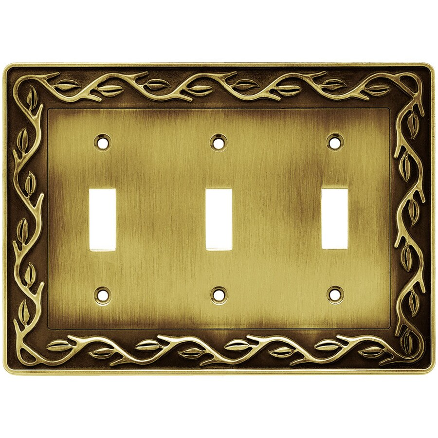 Brainerd 3-Gang Tumbled Antique Brass Toggle Wall Plate