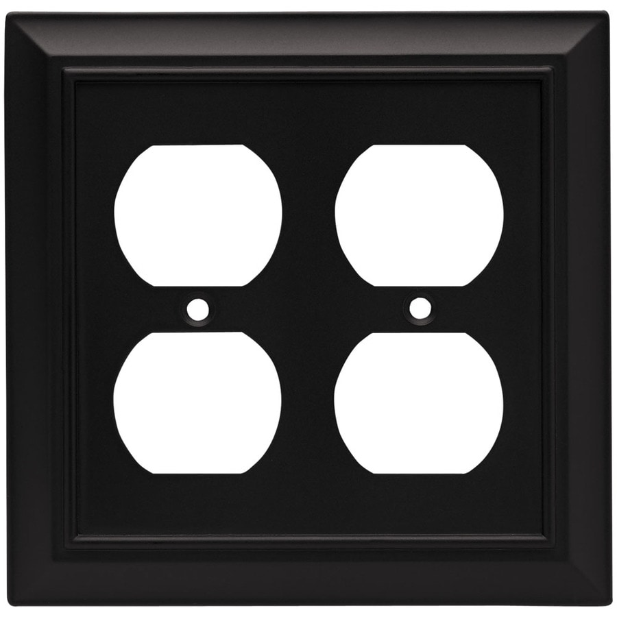 Brainerd Architectural 2-Gang Flat Black Double Duplex Wall Plate