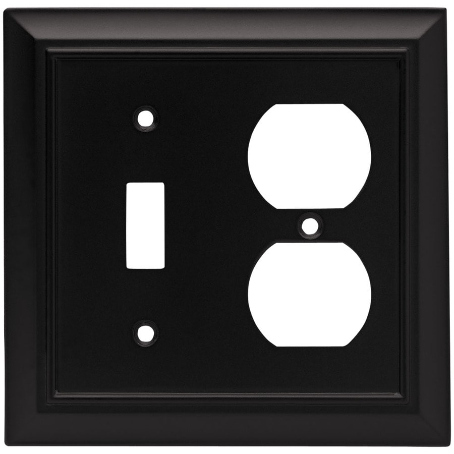 Brainerd 2-Gang Flat Black Double Round Wall Plate