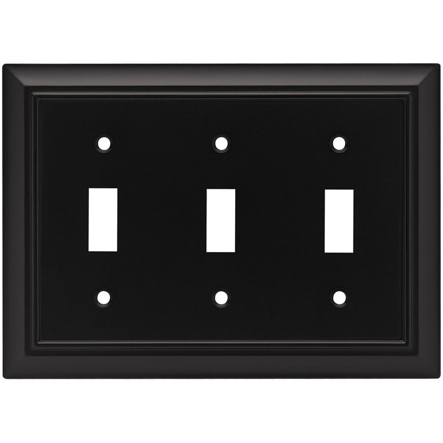 Brainerd 3-Gang Flat Black Toggle Wall Plate