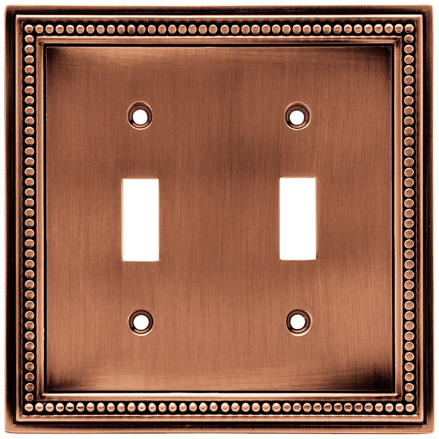 Brainerd 2-Gang Aged Brushed Copper Toggle Wall Plate