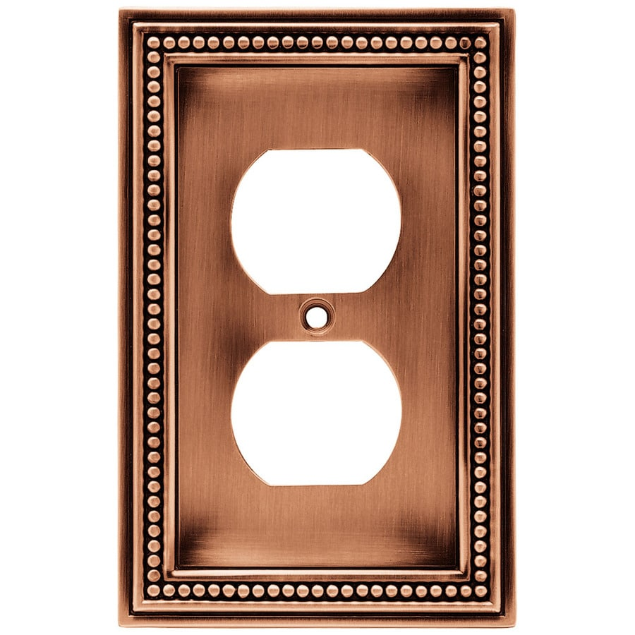 Brainerd 1-Gang Aged Brushed Copper Round Wall Plate