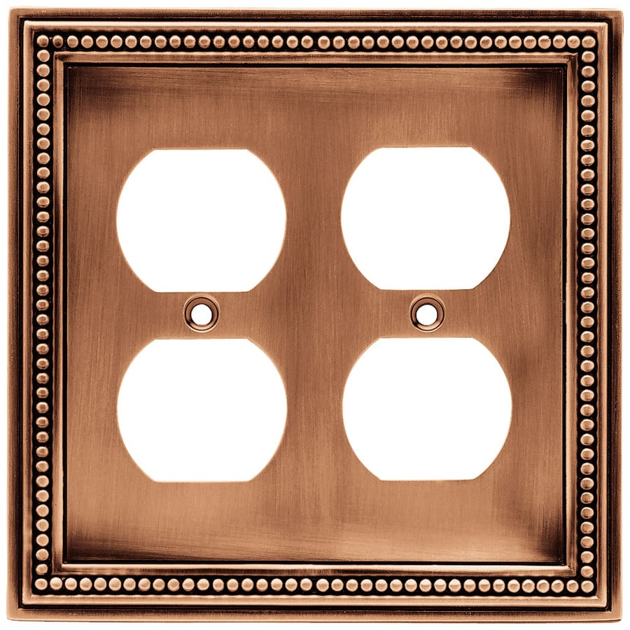 Brainerd 2-Gang Aged Brushed Copper Round Wall Plate