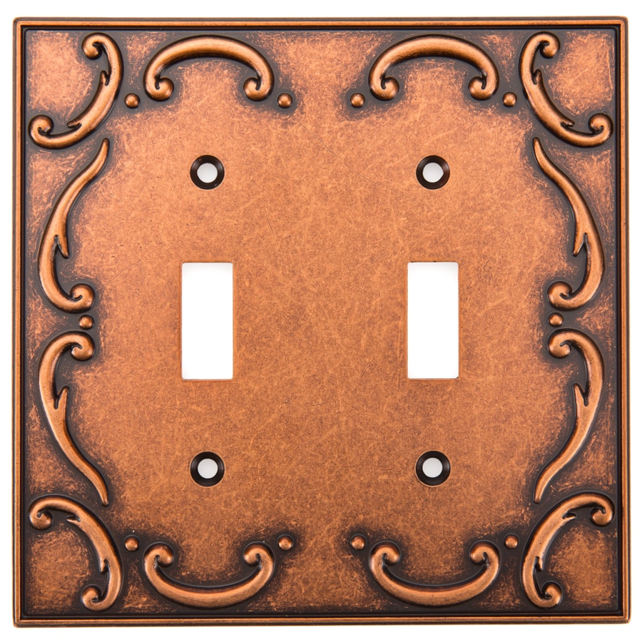 Brainerd French Lace 2-Gang Sponged Copper Double Toggle Wall Plate