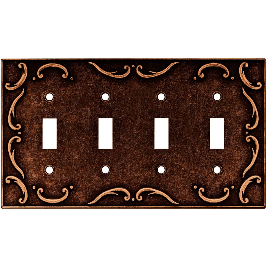 Brainerd 4-Gang Sponged Copper Standard Toggle Metal Wall Plate