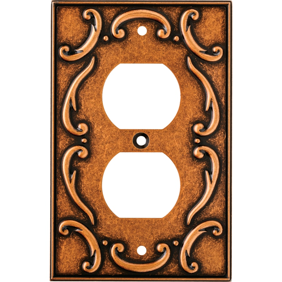 Brainerd French Lace 1-Gang Sponged Copper Single Duplex Wall Plate