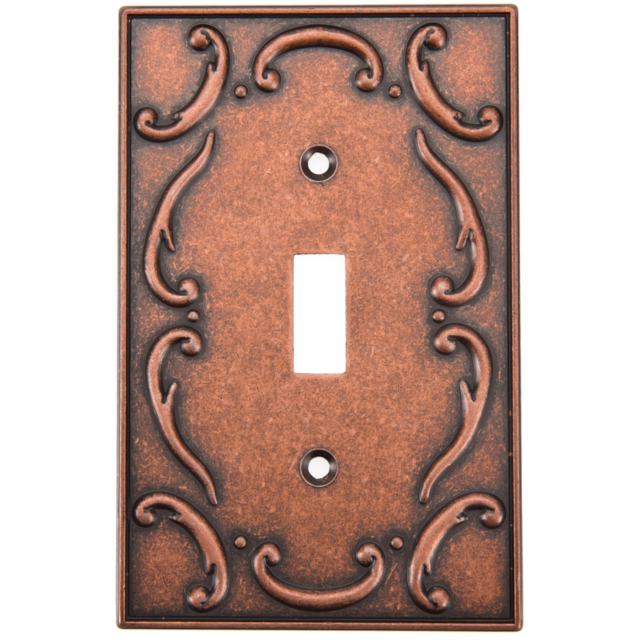 Brainerd French Lace 1-Gang Sponged Copper Single Toggle Wall Plate