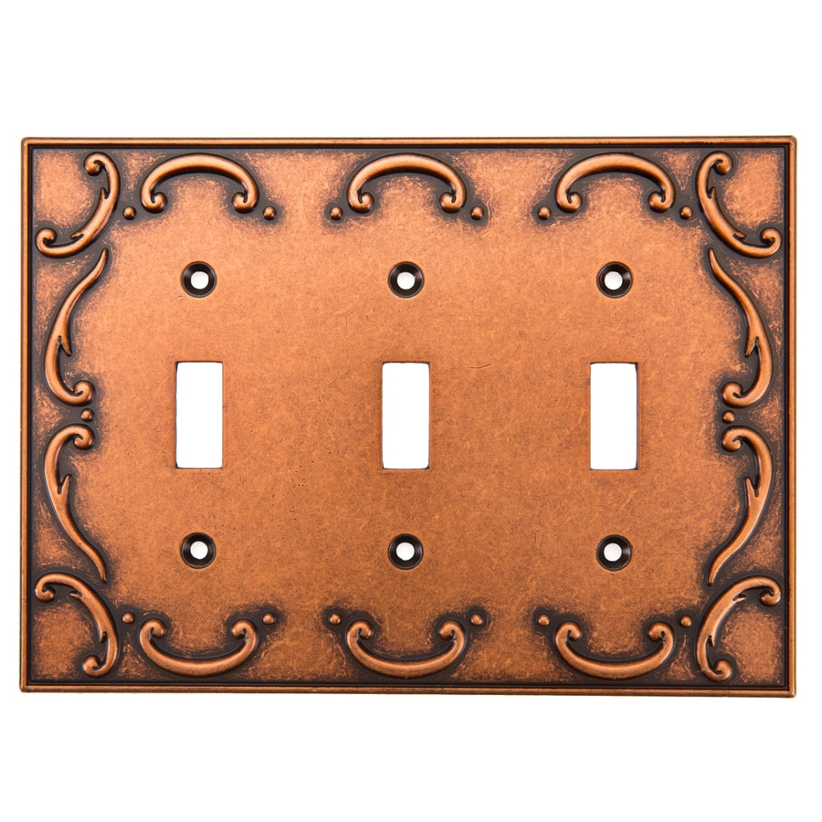 Brainerd French Lace 3-Gang Sponged Copper Triple Toggle Wall Plate