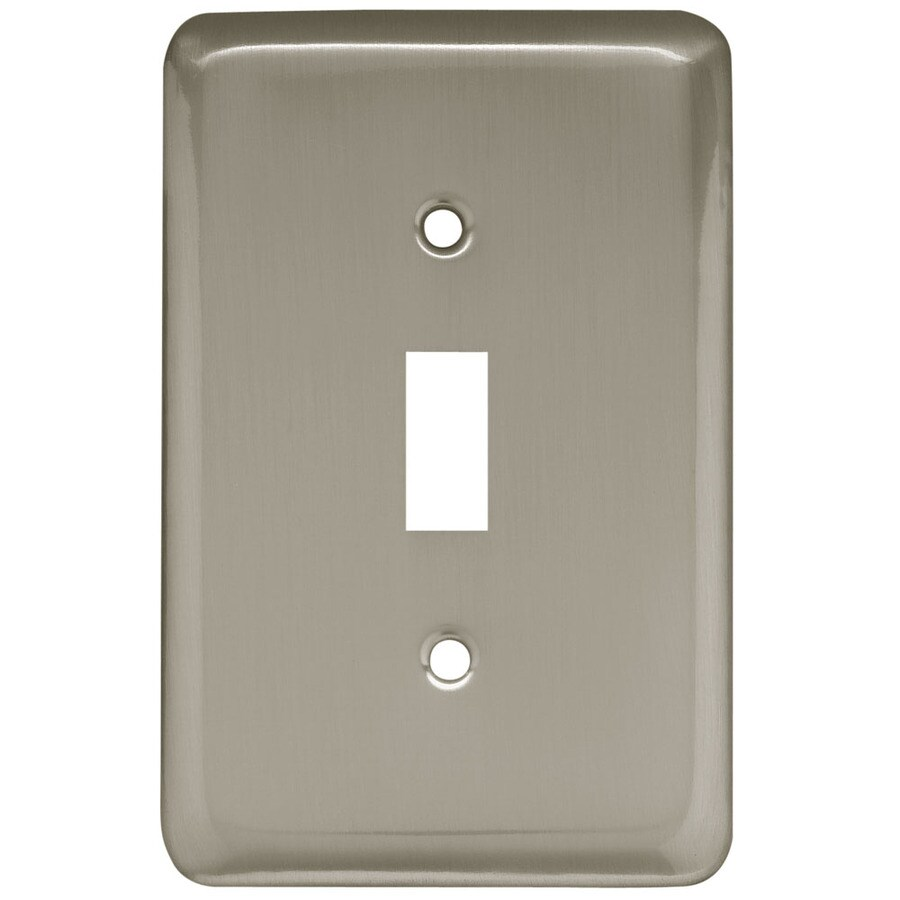 Brainerd Stamped Round 1-Gang Satin Nickel Single Toggle Wall Plate