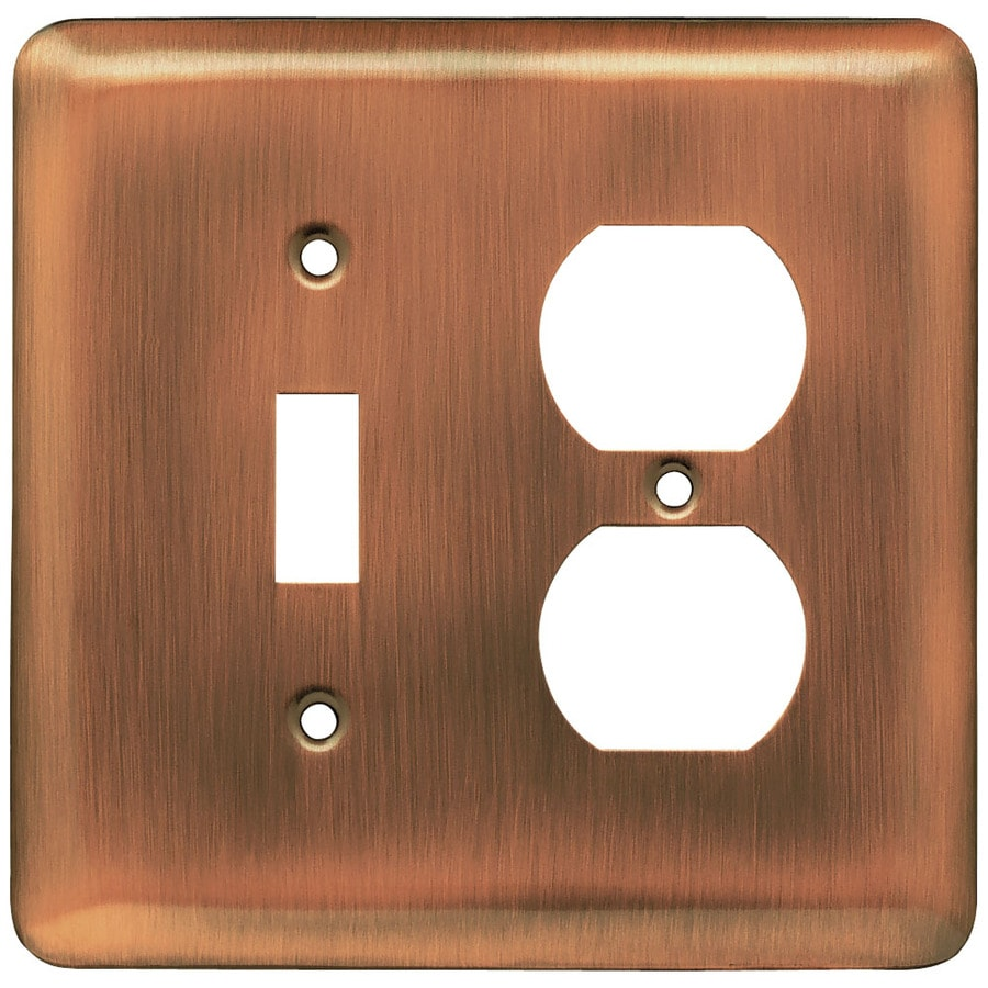 Brainerd Stamped Round 2-Gang Brushed Copper Double Toggle Wall Plate