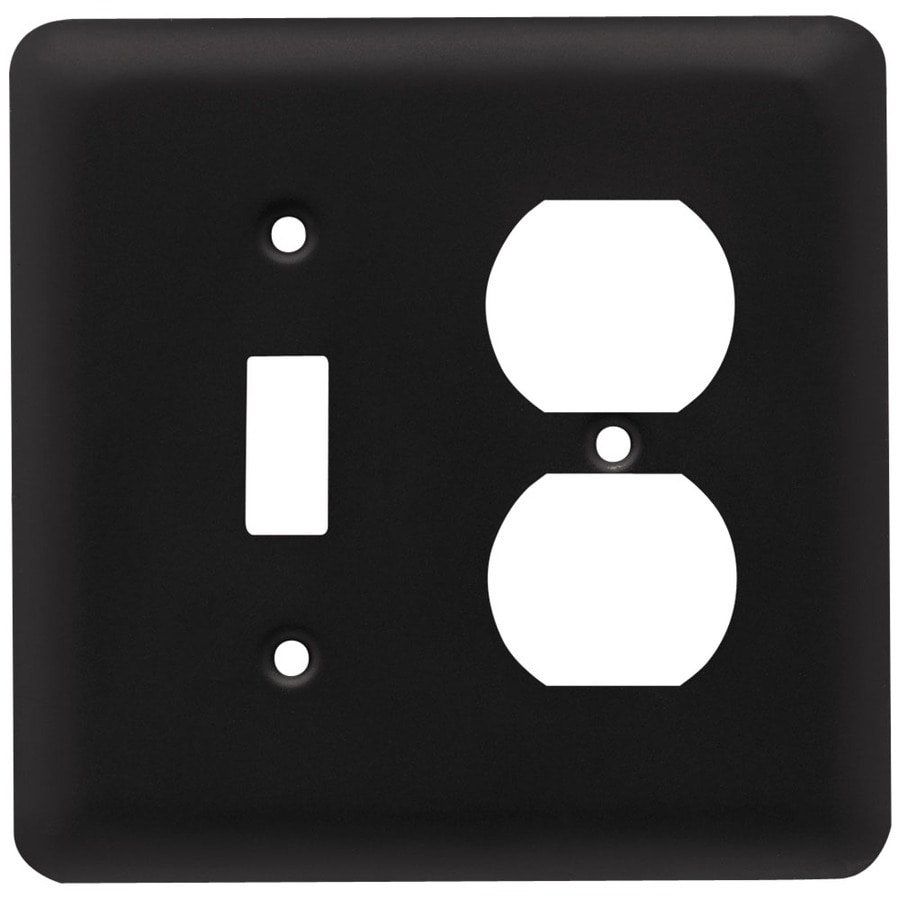 Style Selections Stamped Round 2-Gang Flat Black Double Round Wall Plate