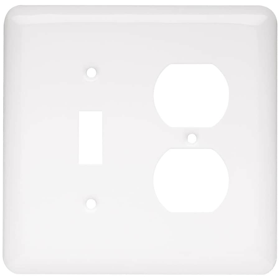 Style Selections Stamped Round 2-Gang White Double Decorator Wall Plate