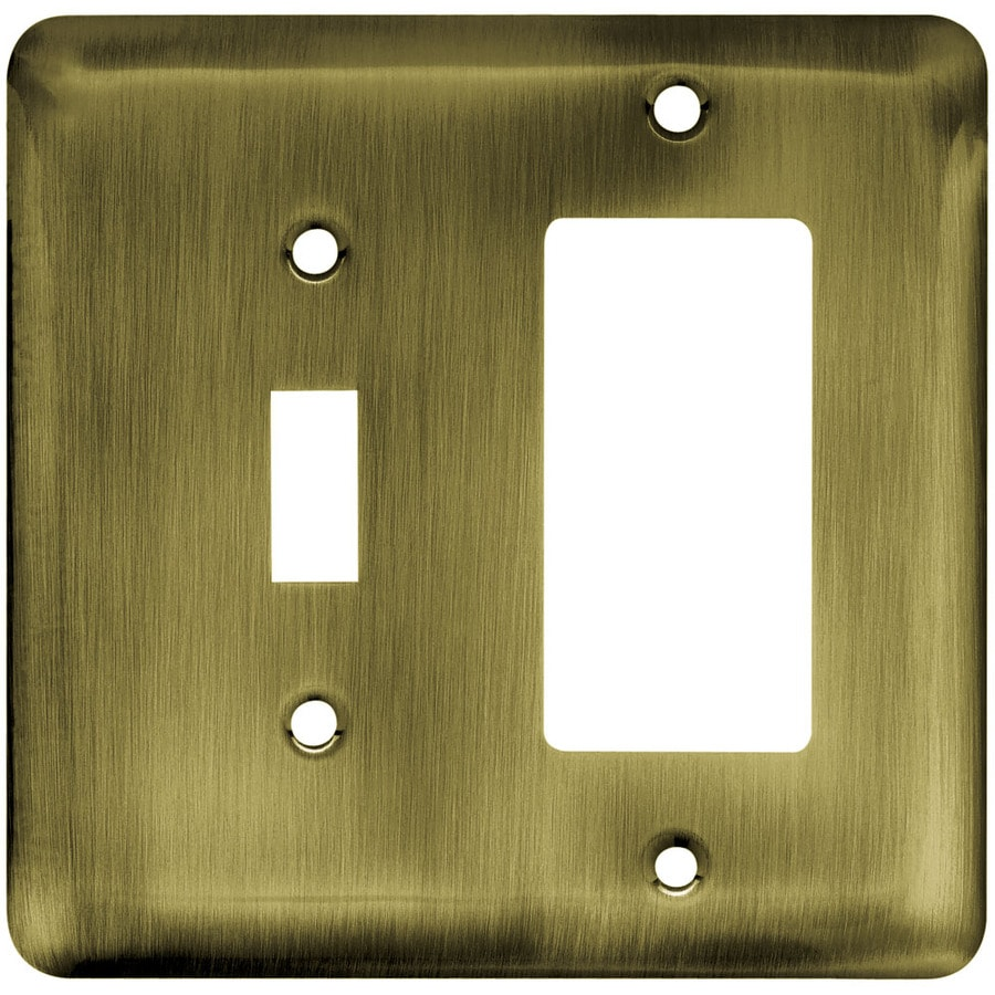 Brainerd 2-Gang Antique Brass Decorator Wall Plate