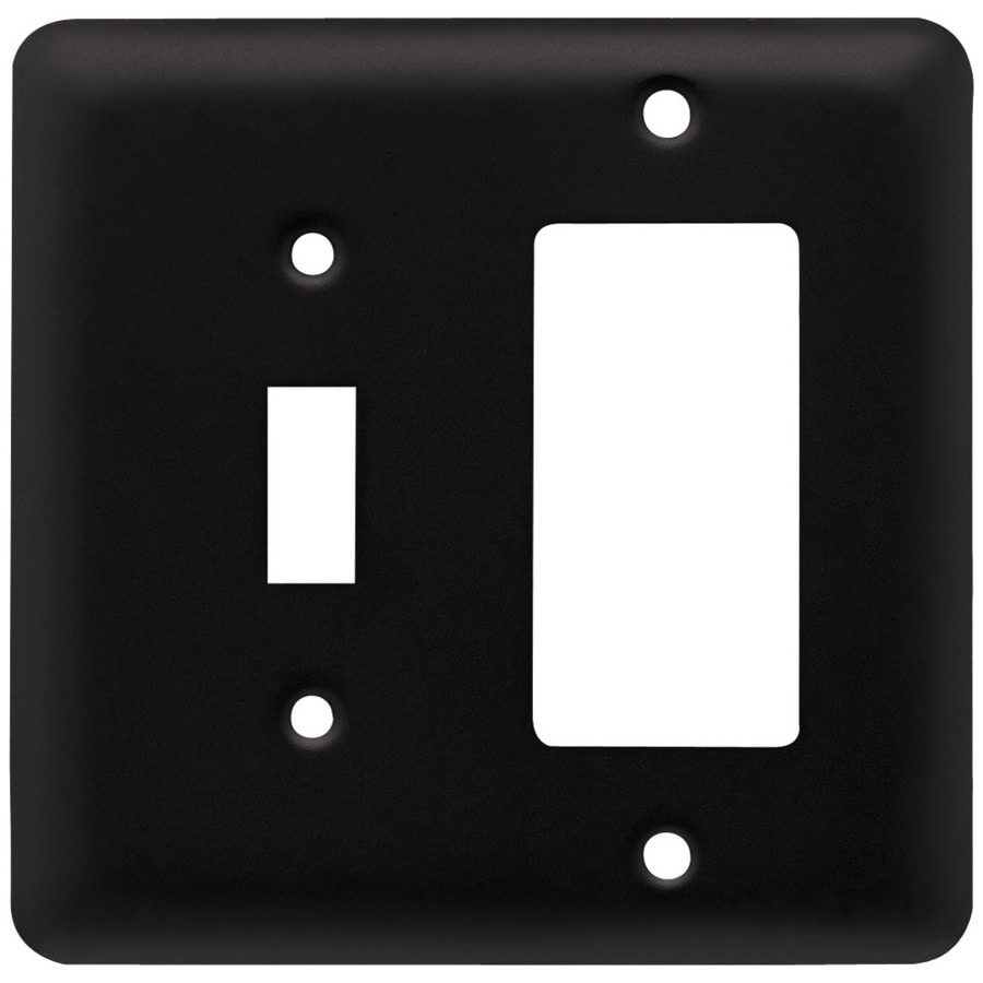 Style Selections Stamped Round 2-Gang Flat Black Single Toggle/Decorator Wall Plate