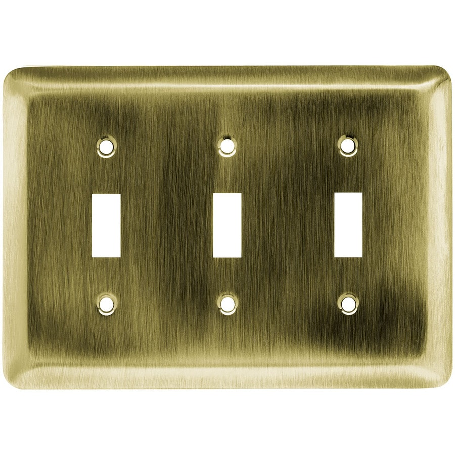 Brainerd 3-Gang Antique Brass Toggle Wall Plate
