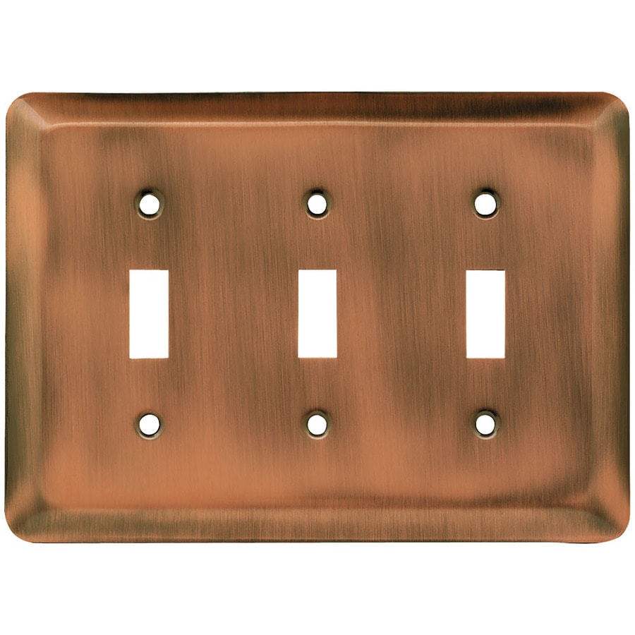 Brainerd Stamped Round 3-Gang Brushed Copper Triple Toggle Wall Plate