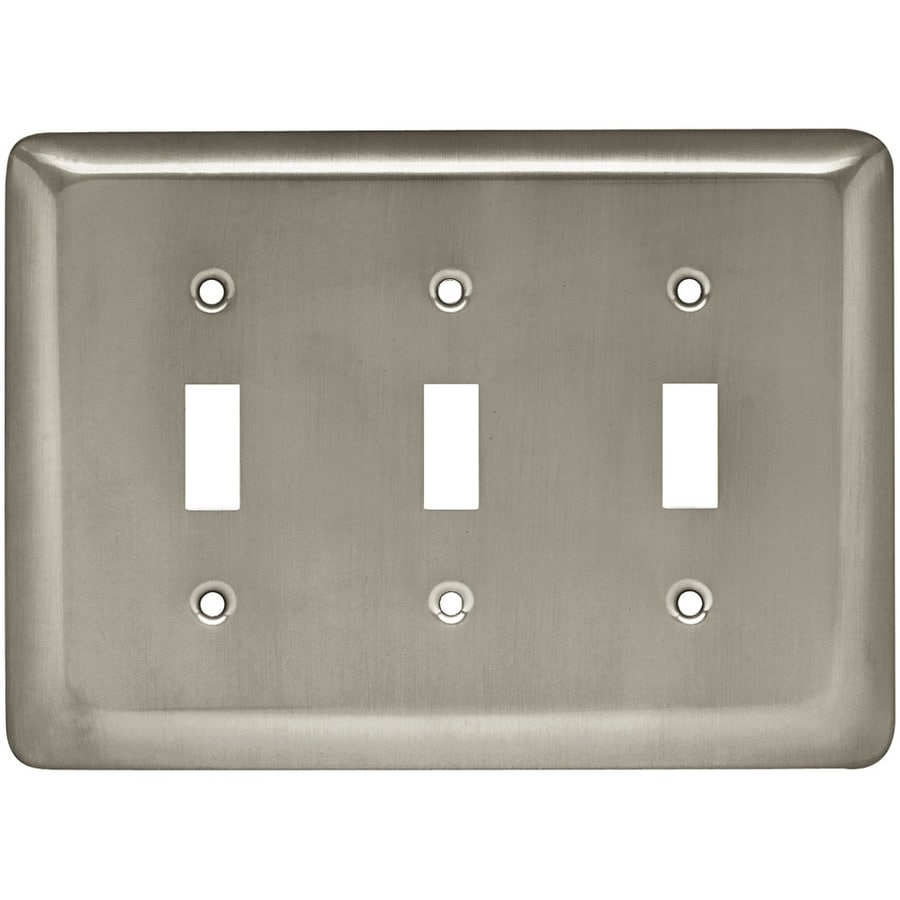 Style Selections Stamped Round 3-Gang Satin Nickel Triple Toggle Wall Plate