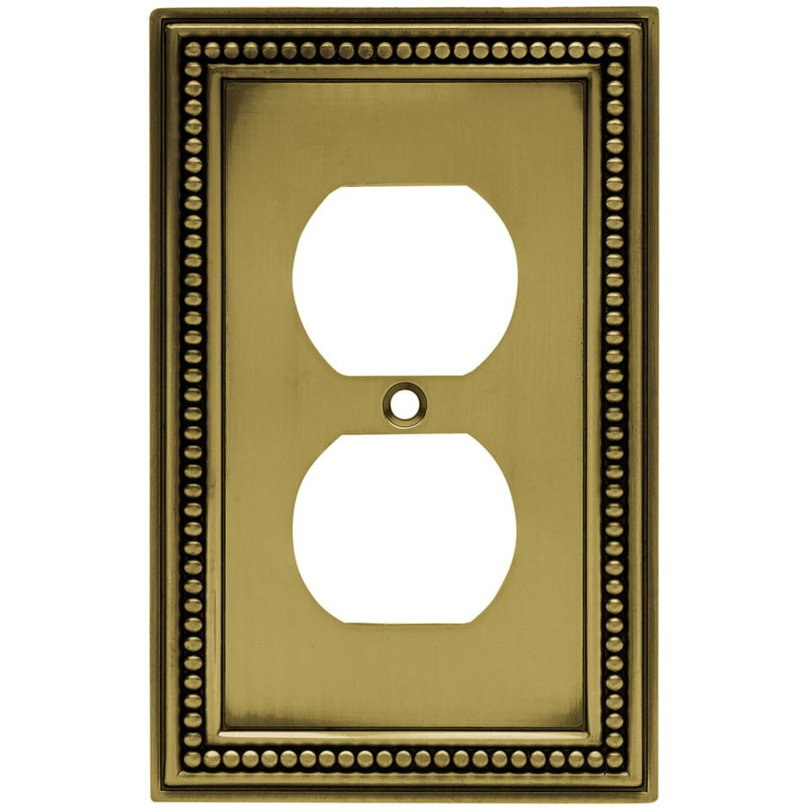 Brainerd Beaded 1-Gang Antique Brass Single Duplex Wall Plate