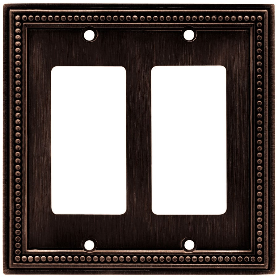 Brainerd Beaded 2-Gang Venetian Bronze Double Decorator Wall Plate