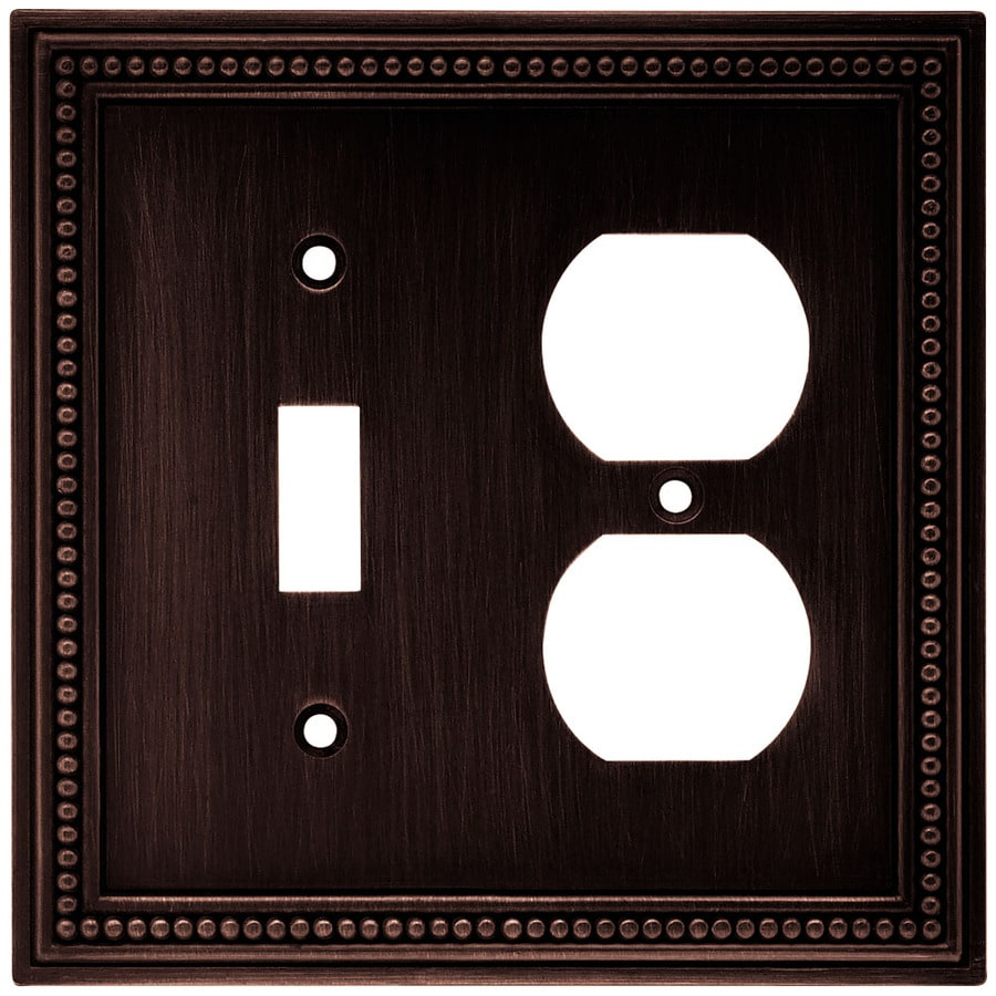 Brainerd Beaded 2-Gang Venetian Bronze Single Toggle/Duplex Wall Plate
