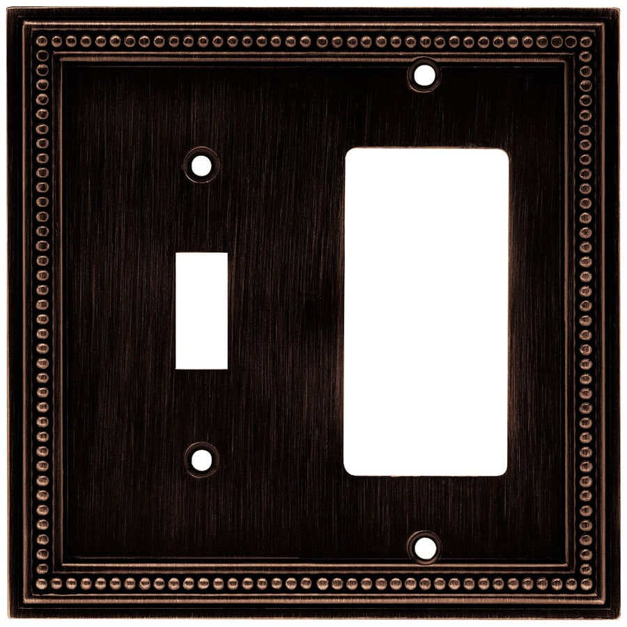 Brainerd Beaded 2-Gang Venetian Bronze Single Toggle/Decorator Wall Plate