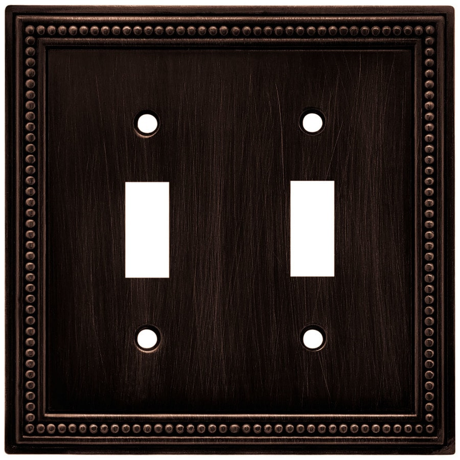 Brainerd Beaded 2-Gang Venetian Bronze Double Toggle Wall Plate