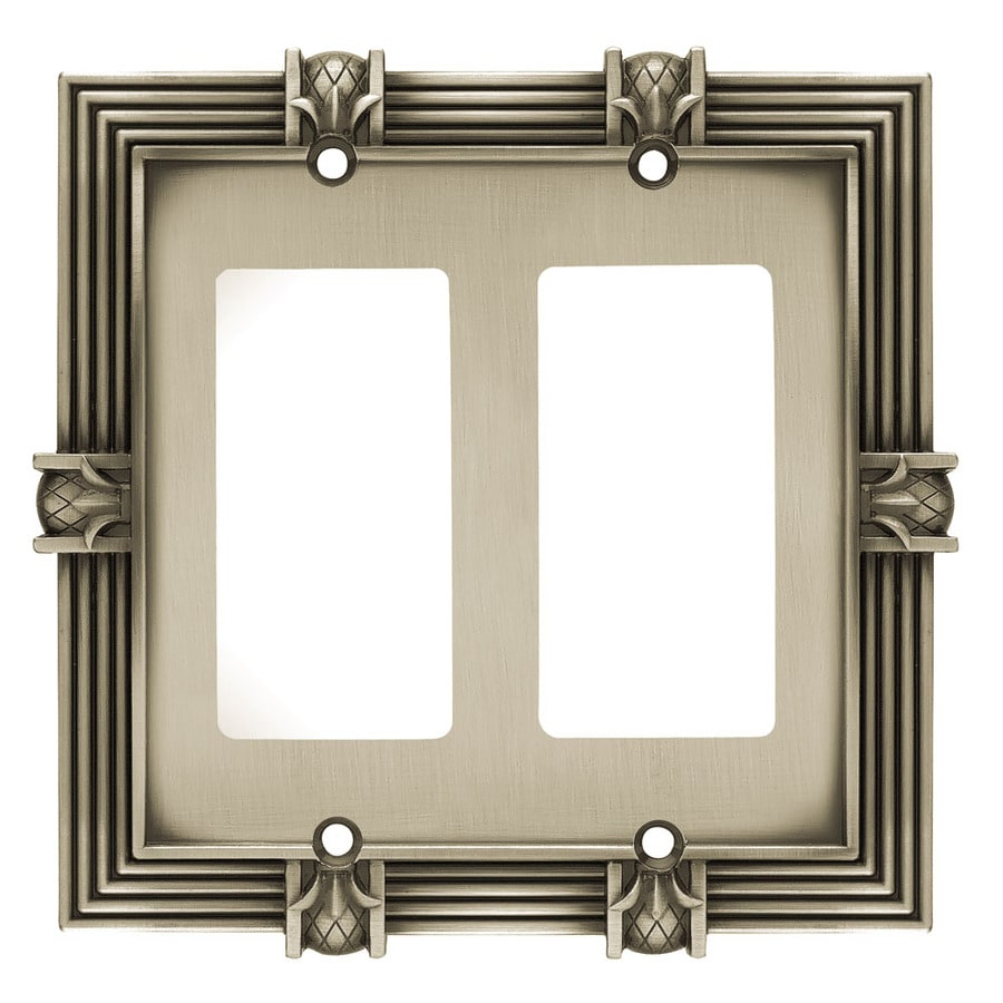 Brainerd 2-Gang Brushed Satin Pewter Decorator Wall Plate