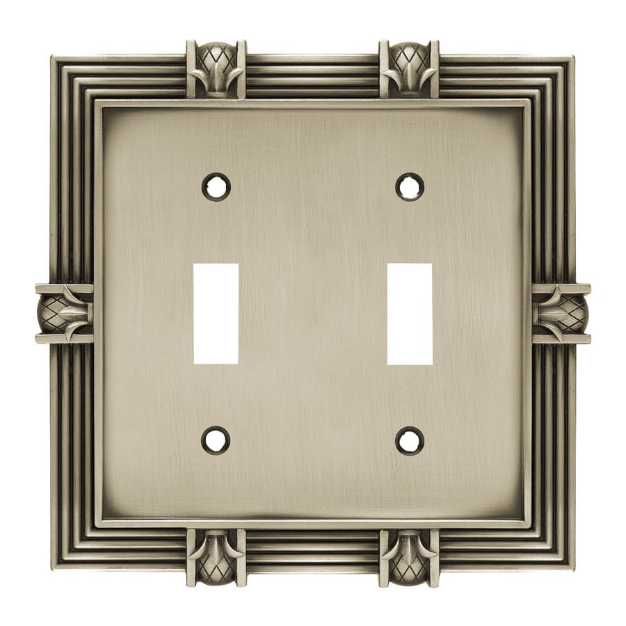 Brainerd 2-Gang Brushed Satin Pewter Toggle Wall Plate