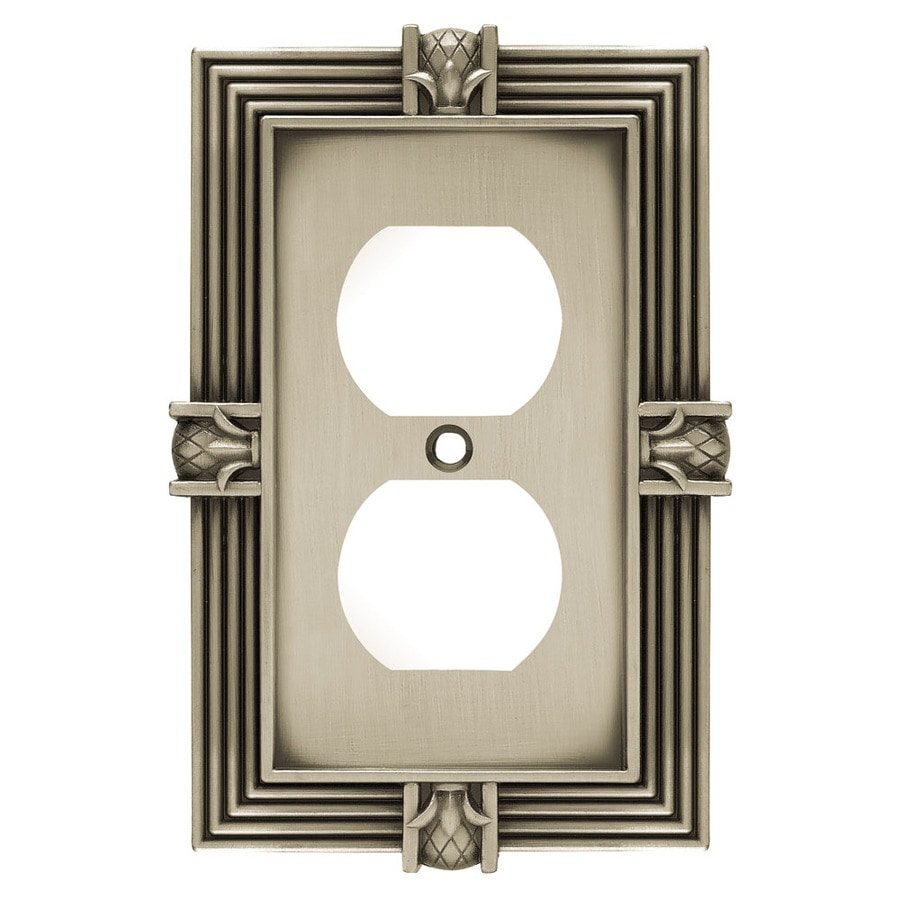 Brainerd 1-Gang Brushed Satin Pewter Round Wall Plate