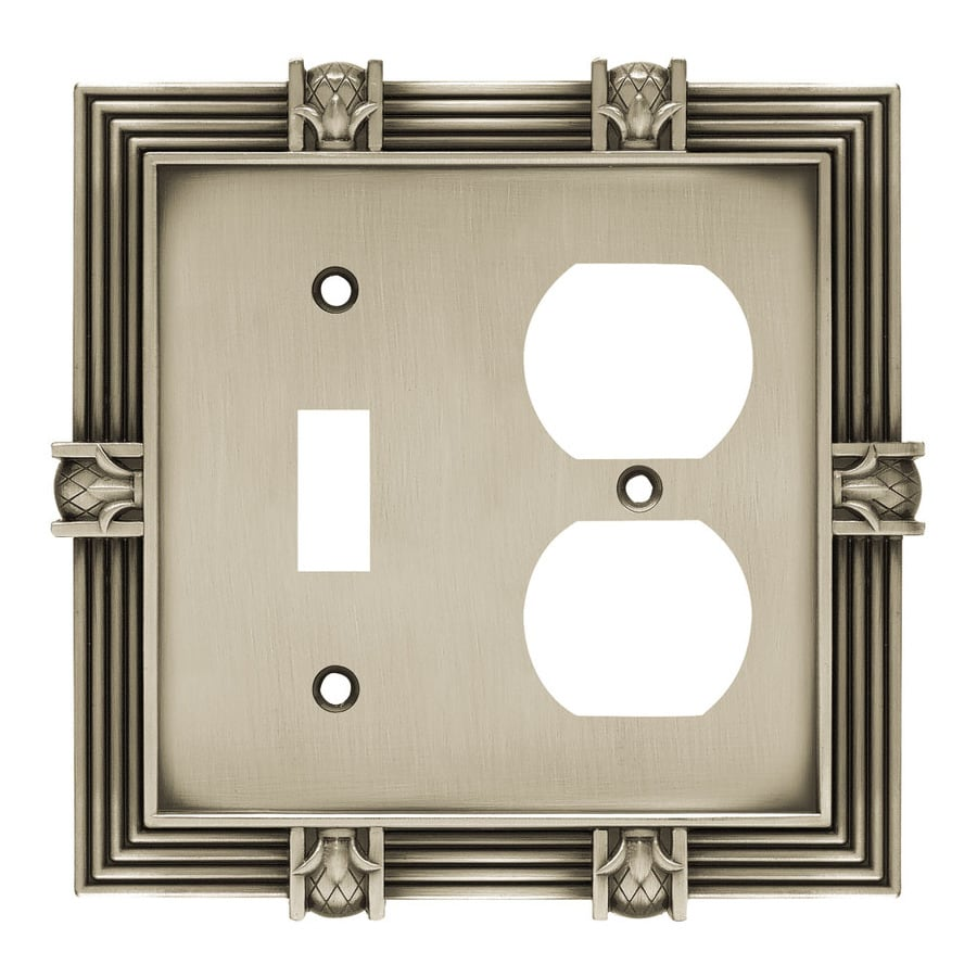 Brainerd 2-Gang Brushed Satin Pewter Double Round Wall Plate