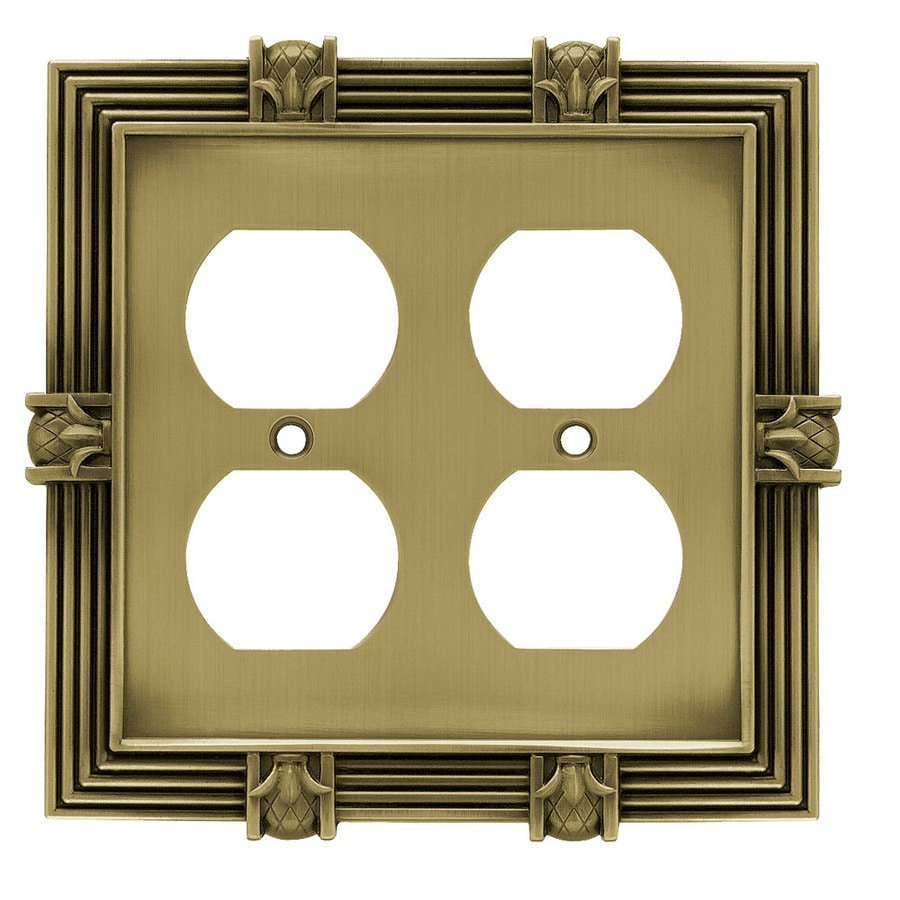 Brainerd 2-Gang Tumbled Antique Brass Double Round Wall Plate