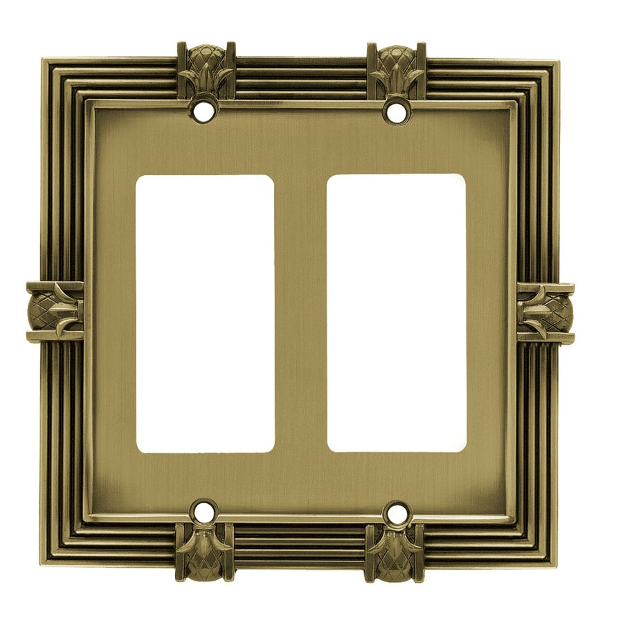 Brainerd 2-Gang Tumbled Antique Brass Decorator Wall Plate