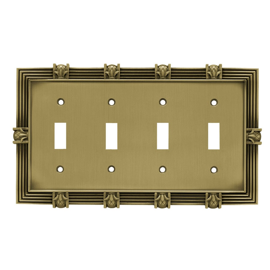 Brainerd 4-Gang Tumbled Antique Brass Toggle Wall Plate