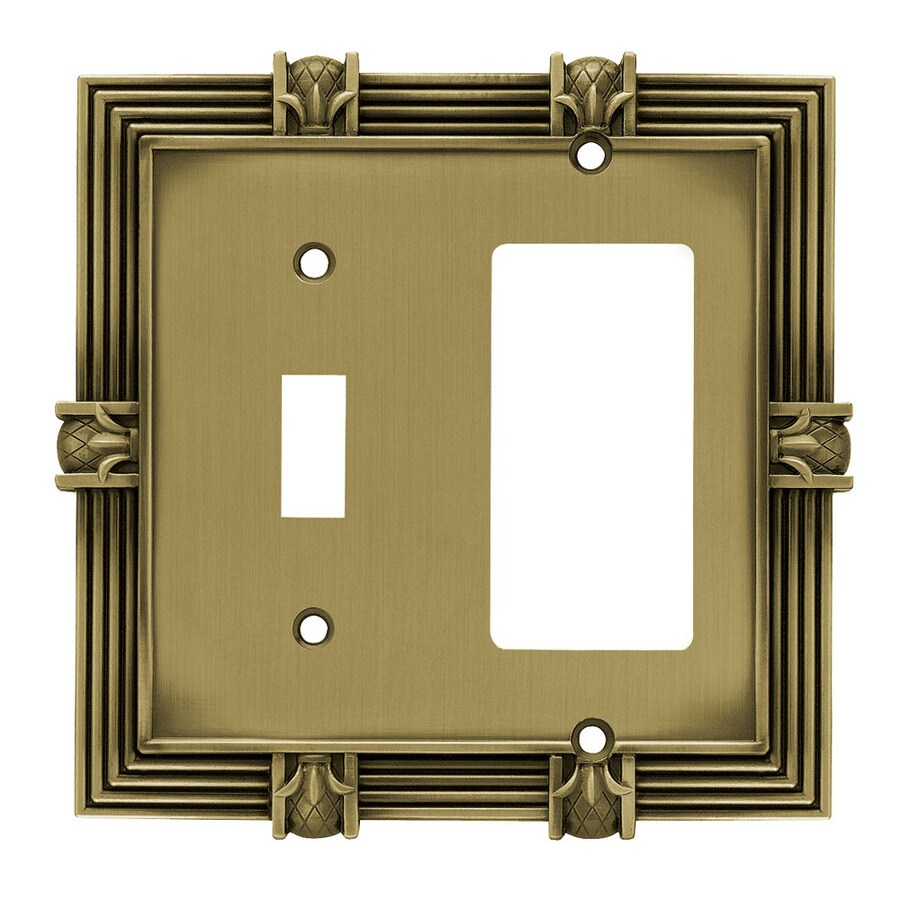 Brainerd 2-Gang Tumbled Antique Brass Double Decorator Wall Plate