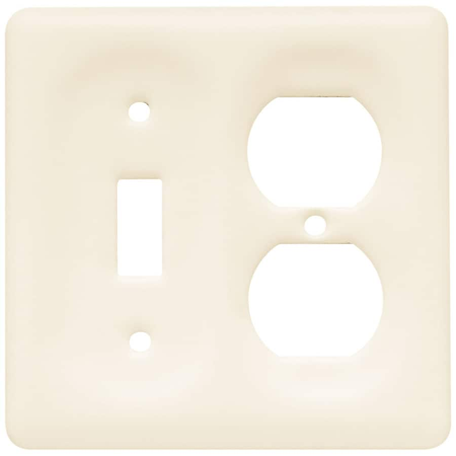 Brainerd 2-Gang Bisque Standard Duplex Receptacle Ceramic Wall Plate