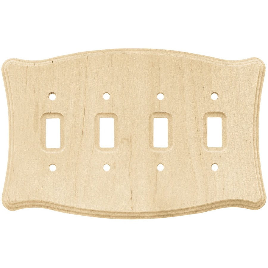 Brainerd 4-Gang Unfinished Birch Toggle Wall Plate